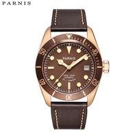 40mm Parnis 기계식 시계 럭셔리 브랜드 남성 시계 21 Jewle Miyota 무브먼트 가죽/스틸 StrapPA6050-A 남성용 선물
