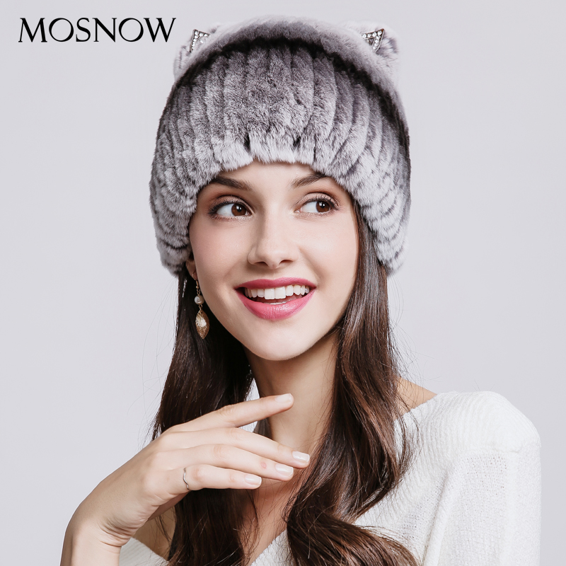 Natural Rex Rabbit Fur Winter Hats For Women Mix Color Lovely Cat Ear With Rhinestones Warm Hat Luxury Beanies