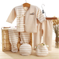 5Pcs Baby 100 Organic Cotton Clothing Set Suits Clothes 2pants Hat Bibs Winter Newborn Girls Boys
