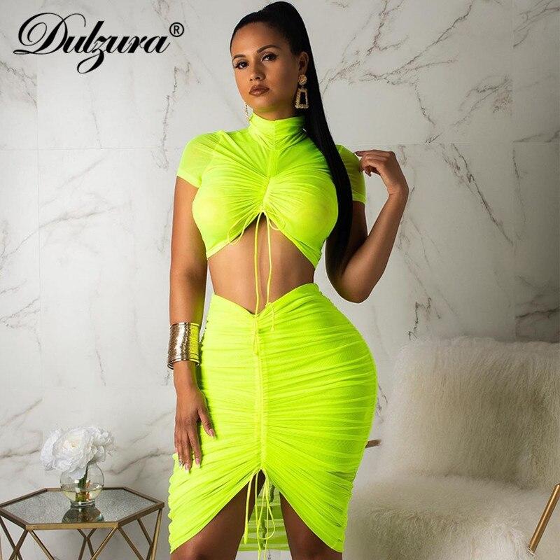 Dulzura 2019 Summer Women Two Piece Set Skirt Set Crop Top High Waist Mesh Bandage Smocking Sexy Tracksuit Outfit Streetwear