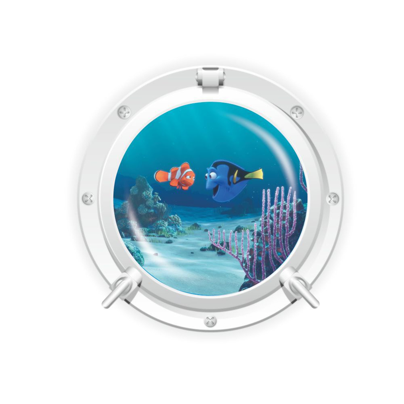 Creative Home Decor 3D Submarine Window Wall Sticker Cartoon Finding Nemo Pattern For Refrigerator, Door, 43x43 CM