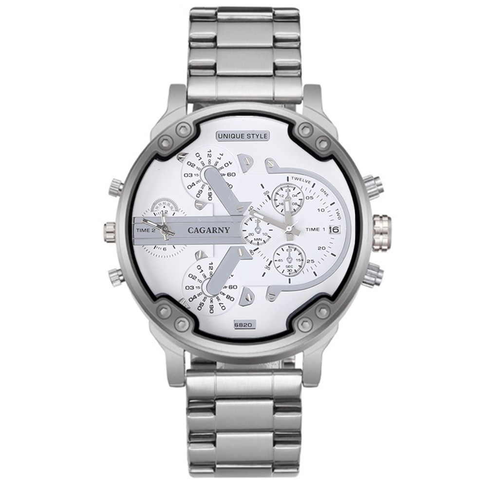 CAGARNY Mens Watches Top Brand Luxury Silver Steel Bracelet Quartz Watch High Quality Large Size Hour Casual Male Wristwatches pj04 7 in1 large size steel pliers silver