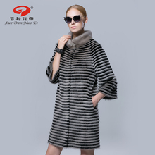 2017 new year real fur coat natural mink fur strip wide waisted coats genuine leather jacket for lady fashion silm fur coat
