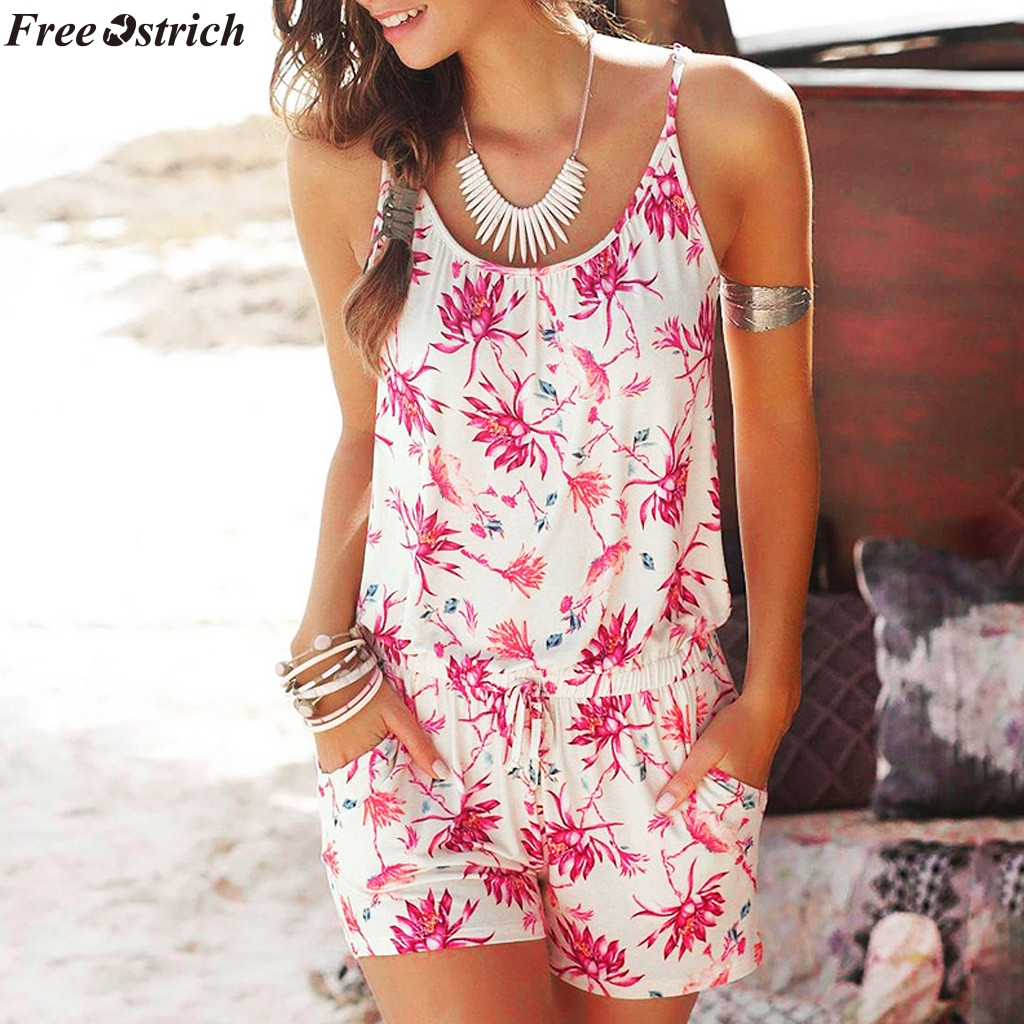 FREE OSTRICH Women Sleeveless Sling Short Jumpsuits Fashion Printed Ladies Beach Backless Casual Waist Pocket Rompers Plus Size