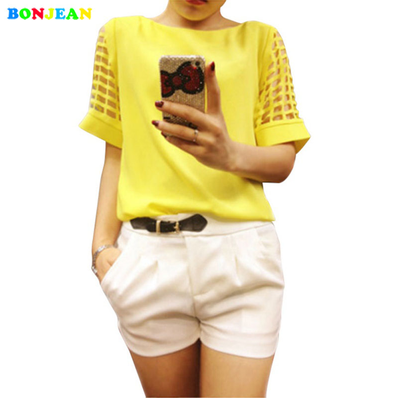 BONJEAN 2017 Summer Plus Size Women Chiffon Blouses Shirts O Neck Hollow Out Short Sleeve Solid Casual ladies Tops Blusas