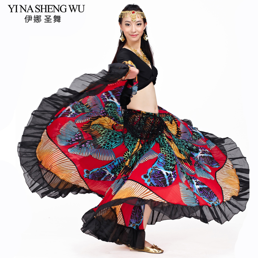 360 Degree Gypsy Skirt Butterfly Printed Gypsy Costumes Belly Dance Tribal Bohemian Skirt Belly Dance Flamenco Dance Sets 2Pcs