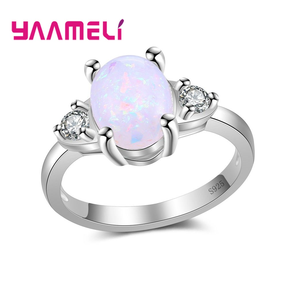 YAAMELI Vintage Antique Natural Stone Ring Fashion Jewelry turquoises Sea Opal Finger Ring For Women Wedding Anniversary Ring
