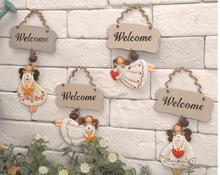 Free shipping,Zakka,Retro angel decoration listed welcome card home small number plate,wall ornaments store