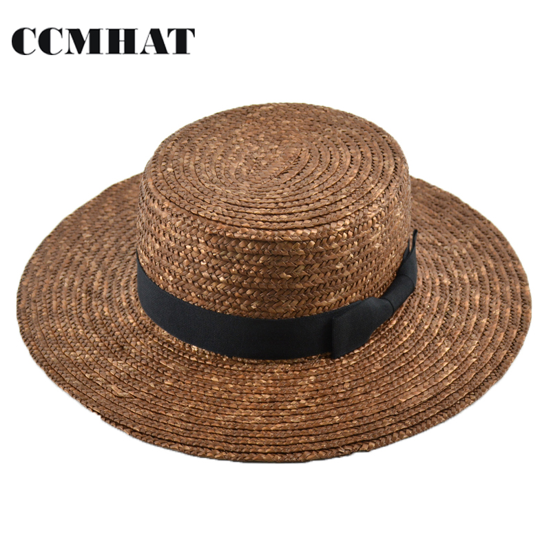 CCMHAT Wide Brim Straw Hat For Women Flat Top Summer Sun Hats For Women Wheat Ladies Straw Hats Brown Girl Beach Chapeu Feminino