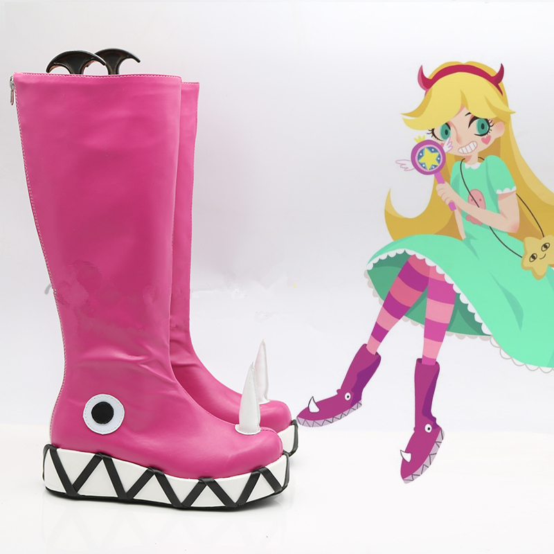 Star vs.the Forces of Evil Princess Star Butterfly Magic Cosplay Shoes Boots Halloween Carnival Party Cosplay the power of five evil star