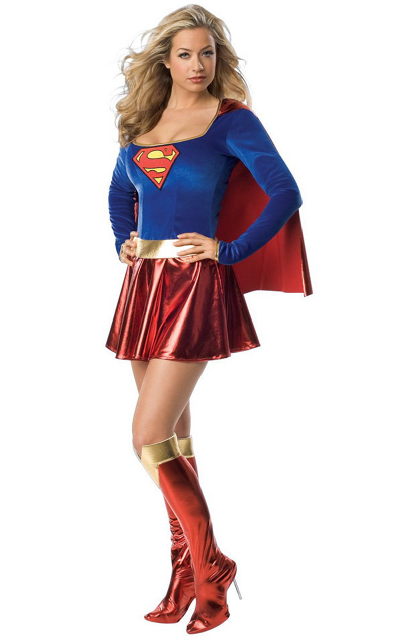 Halloween Wonder Woman Superhero Superwoman Cosplay Costume Adult Women Fancy Dress Includes : Dress+Foot cover