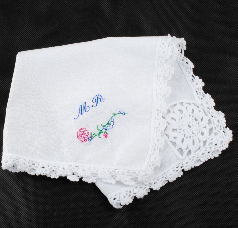 Lace Decoration Personalized Custom Embroidered hanky pocket squares Handkerchief  Men Women Gift Wedding Lovely AE0443-in Embroidery from Home & Garden on ...