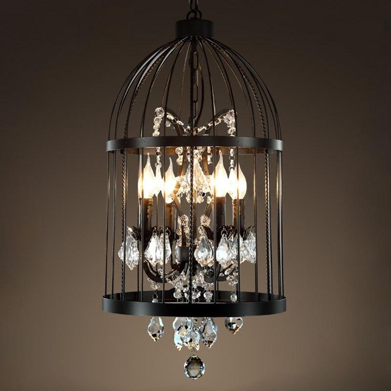 American Birdcage Chandelier Crystal Light Loft Metal