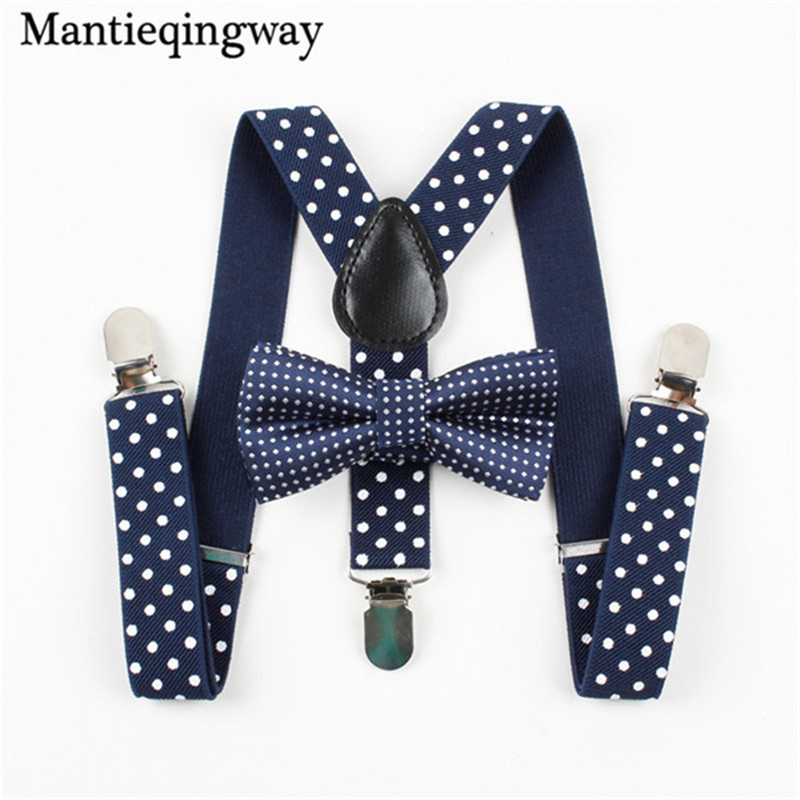 Mantieqingway Candy Color Polka Dots Bow Tie Kids Adjustable Suspenders Bowtie Set Boys Grils 3 Clip-on Y-back Suspenders Braces