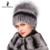 Flores de inverno mulheres chapéu de pele de coelho rex com pele de raposa gorros de malha 2016 nova moda senhoras de boa qualidade verdadeira pele tampas