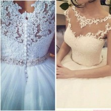 2015 Elegant Jewel Appliqued Lace Cap Sleeve Beaded Puffy Princess Wedding Dresses