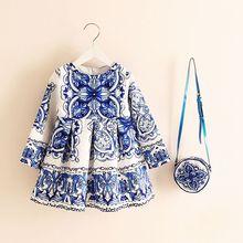 À Manches longues Robe Fille Robe De Noël 2016 Automne Hiver Floral Imprimer Enfant Fille Robes Enfants Vêtements Enfants Robe avec Sac