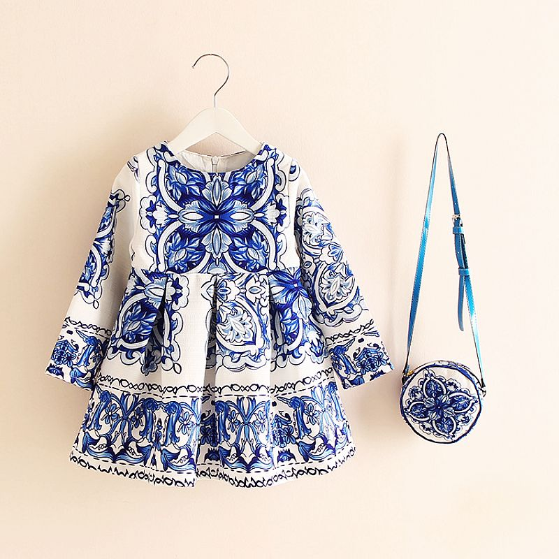 Long Sleeve Dress Girl Christmas Dress 2018 Autumn Winter Floral Print Toddler Girl Dresses Kids Clothes Children Dress with Bag 3 4 sleeve tribal print shift mini dress