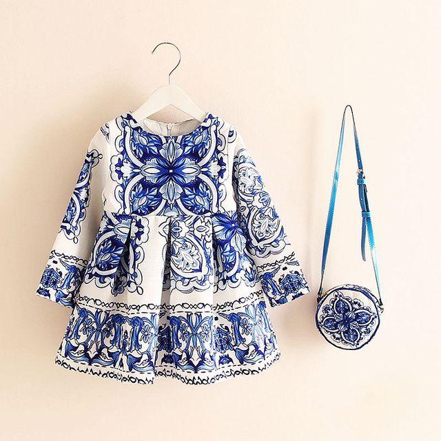 Long Sleeve Dress Girl Christmas Dress 2018 Autumn Winter Floral Print Toddler Girl Dresses Kids Clothes Children Dress with Bag