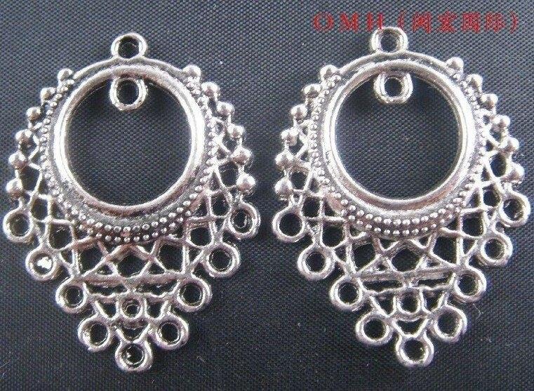 OMH Wholesale Jewelry Free Shipping 10pcs Tibetan Silver Pendants Earring Connectors Drop Earrings  33x24mm  EH328