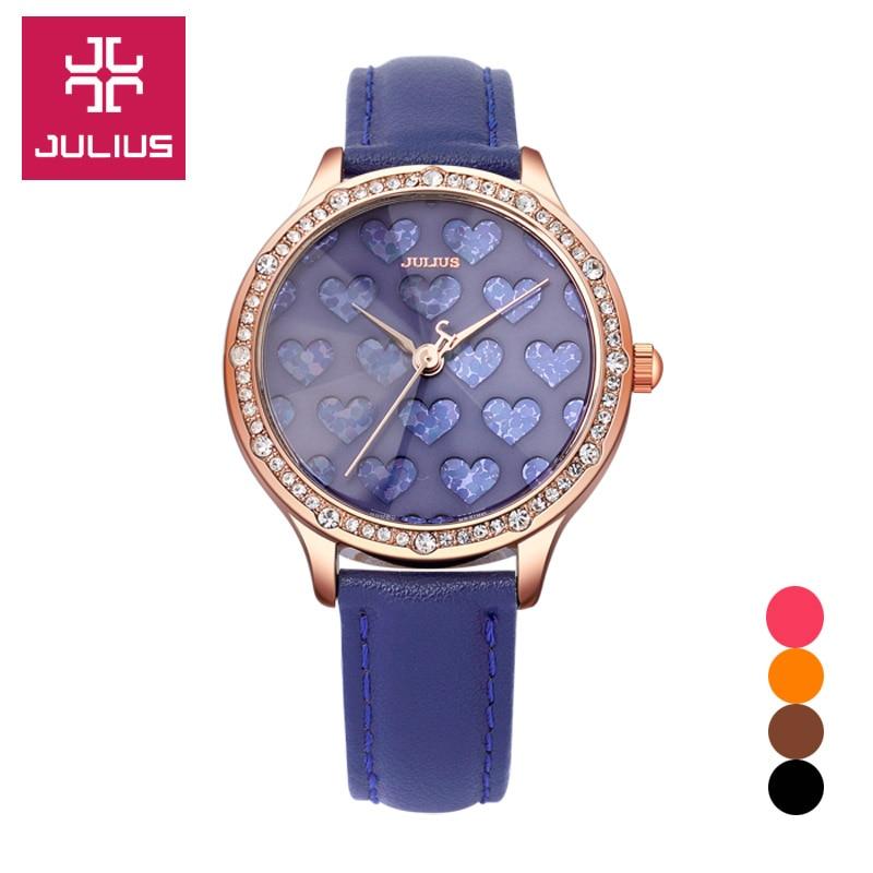 ФОТО Lady Wrist Watch Quartz Women's Hours Best Fashion Dress Bracelet Band Leather Heart Elegant Valentine Girl Gift Julius JA-851