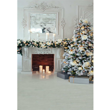 Lareira interior Fundo Festa de Natal Velas Impresso Flores de Ouro Bolas de Árvore de Natal Decorada Crianças Família Foto Backdrops