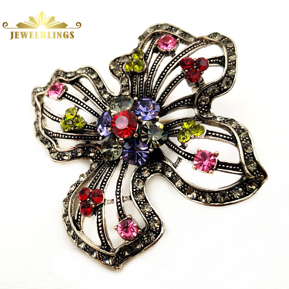 Vintage Opens Metallic Colored Crystal Big Flower Pin Silver Tone Four Petal Colorful Statement Brooch Women Saree Jewelr