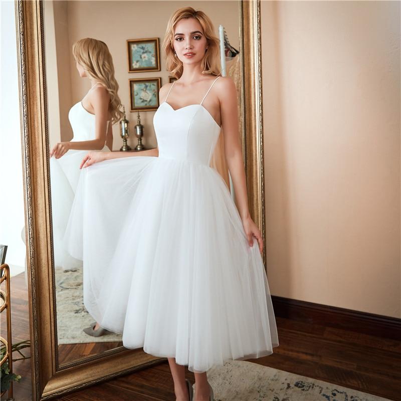 Simple Robe De mariée courte Vestidos Brancos 2020 Tulle plage une ligne robes De mariée élégant Spaghetti bretelles Robe De Mariage