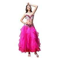 Belly Dancing Suit Dance Suit Adult Female 2018 New Oriental Dance Costume Belly Dance Costume 3 Kits Top Vest Bra Belt Skirt