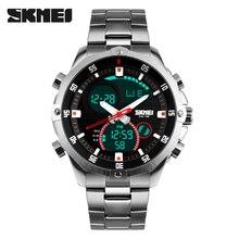 Luksusowa marka SKMEI pełny stalowy zegarek wojskowy wodoodporny moda cyfrowy analogowy kwarcowy data LED mężczyźni wielofunkcyjne zegarki sportowe