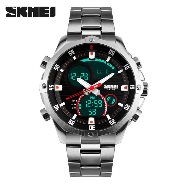 Luxury Brand SKMEI Full Steel Military Watch Waterproof Fashion Digital Analog Quartz Date LED Men Multifunction Sport Watches