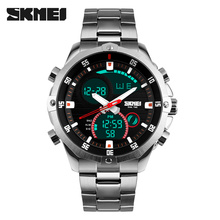 Luxus Marke SKMEI Voller Stahl Military Watch Wasserdicht Mode Digital Analog Quarz Datum LED Männer Multifunktions Sport Uhren