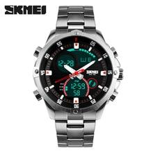 יוקרה מותג SKMEI מלא פלדה צבאי שעון עמיד למים אופנה דיגיטלי אנלוגי קוורץ תאריך LED גברים תכליתי ספורט שעונים