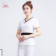 2019 spring and summer new cosmetologist work clothes female white suit health shop technician medical nurse outfit