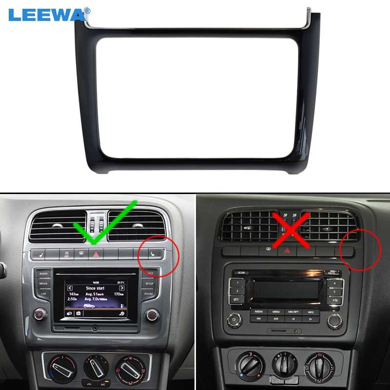 Leewa preto brilhante 2din remontagem de carro estéreo rádio dvd quadro painel traço fascia kits de instalação para volkswagen polo (typ6c; 2014 +