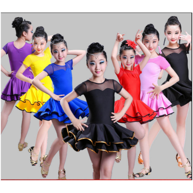 2019 New Arrival Girl Latin Dance Dress Child Fitness Samba Chacha Dancing Suit Students Rumba Showing Dancing Uniform