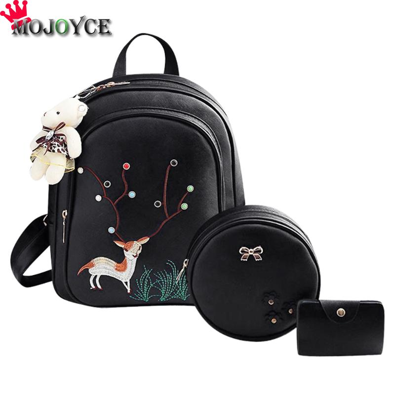 3pcs/Set Deer Pattern Embroidery Backpacks Women High-grade Leather Backpack Fashion School Bags for Teenager Girls Backpack