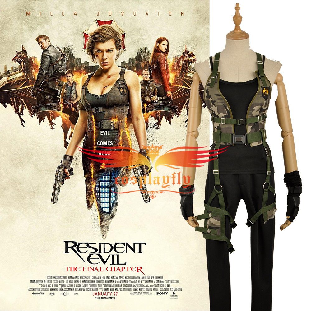 Resident Evil Cosplay Costume the Final Chapter Alice Fancy Costume Custom Made Halloween Bandage Camouflage Vest W1193