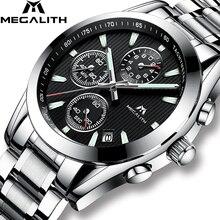 MEGALITH часы для мужчин часы спортивные, военные кварцевые часы водостойкие Роскошные хронограф нержавеющая сталь наручные часы Relogio Masculino