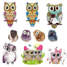 Cute Small Animal Owl Unicorn Top Iron Patches for Clothing Heat Transfer Stickers DIY T-shirt Children Application E