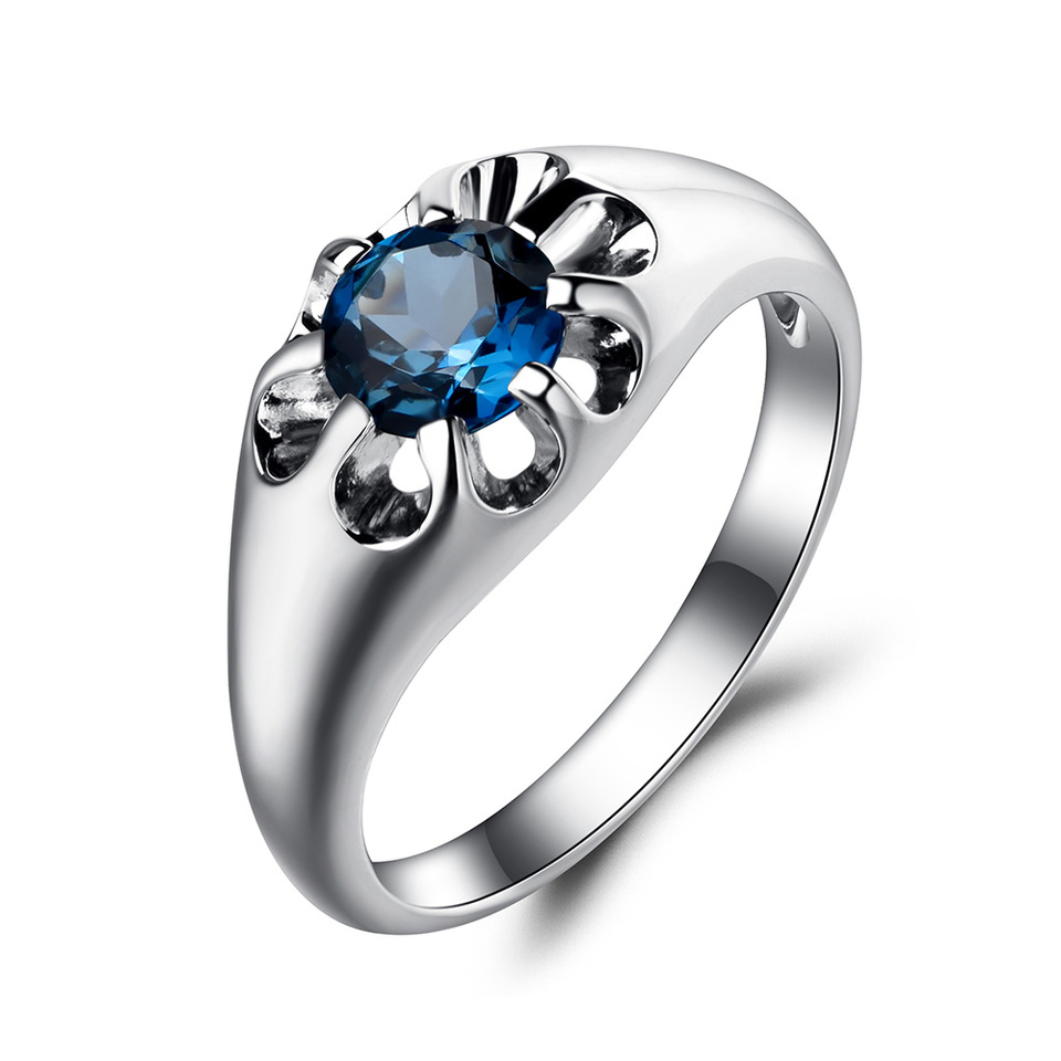 London Blue Topaz with White Zircon Ring,925 Sterling Silver Ring,Valentine Day Gift,Birthstone Ring,Gift for Love,Wedding Ring,Promise Ring