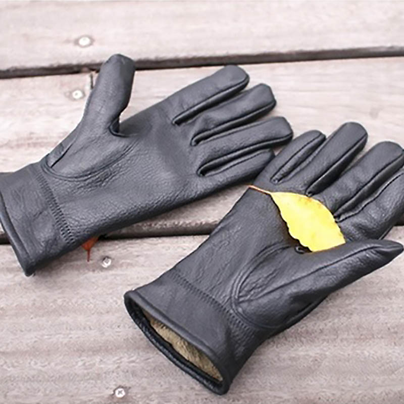 Hot Sale Men Winter Keep Warm Thermal Wool Leather Gloves with Plush Outdoor Sports Working Driving Safety Security Equipment