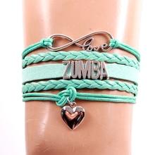 Браслет Infinity Love ZUMBA из искусственной кожи, плетеные браслеты, браслеты-шармы с веревочками для женщин и мужчин, ювелирные изделия черного, красного, розового, синего цвета