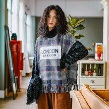 Fashion Hit Color Plaid Tassel Hoodie Women Spring Long Sleeve Turtleneck  Sweatshirt 2019 New Streetwear Womens Harajuku