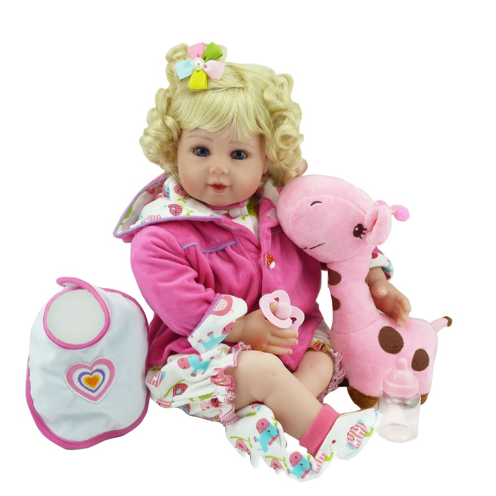 """Pursue 20""""/51 cm Silicone Reborn Baby Dolls Blond Hair Blue Eyes With Accessories Cloth Body Baby Doll Nursery Set Collection"""