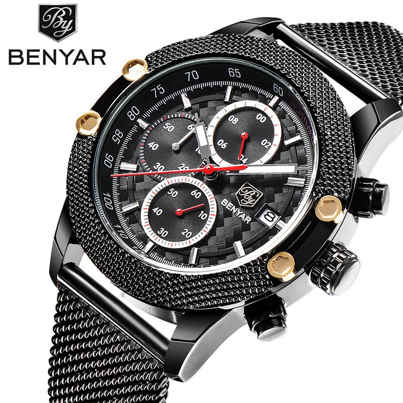 цены Fashion simple stylish Top Luxury brand BENYAR Watches men Stainless Steel Mesh strap band Quartz-watch thin Dial Clock man