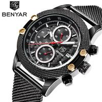 Fashion Simple Stylish Top Luxury Brand BENYAR Watches Men Stainless Steel Mesh Strap Band Quartz Watch