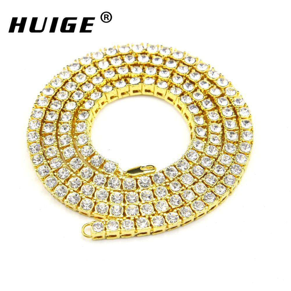 Gold Tone Iced Out Necklace 1 Row Simulated Diamond Hip Hop Chain 24inch 36inch Mens Gold
