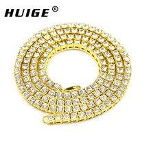 Хип-хоп золотая цепочка 1 ряд 5 мм круглой огранки Теннис Цепочки и ожерелья цепь 20 дюймов-36 inch мужские панк Iced Out Rhinestone цепи Цепочки и ожерелья