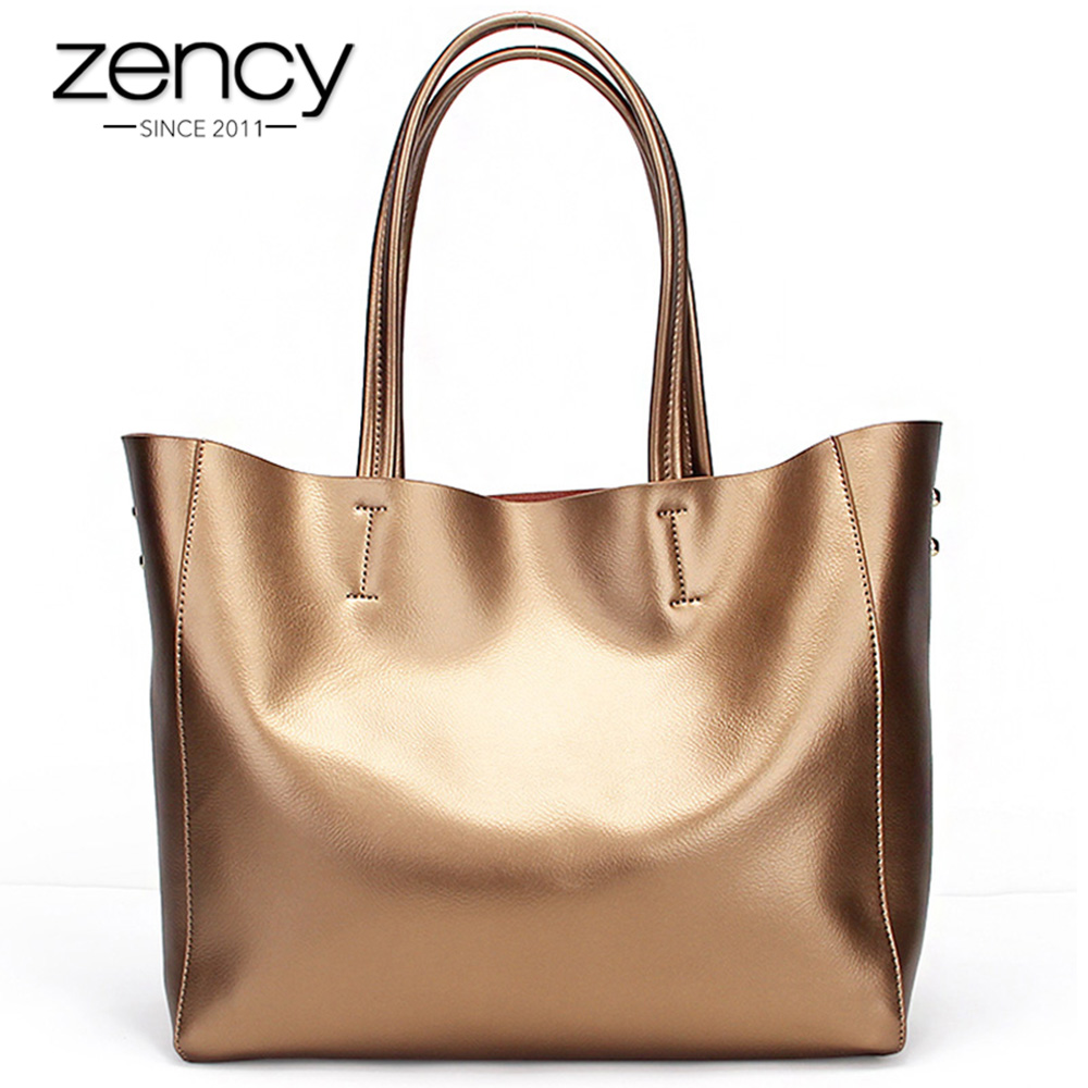 Zency Luxury Gold Women Shoulder Bag 100% Genuine Leather Capacity Handbag Besar Elegant Ladies Messenger Crossbody Fashion